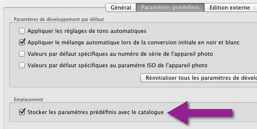 Option_stocker les paramètres prédéfinis avec le catalogue