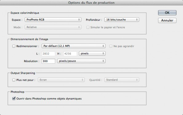 Options de flux de production ACR 8.1