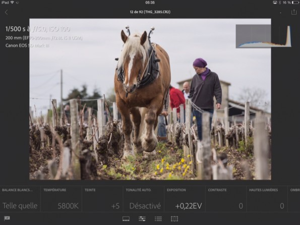 Lightroom mobile module Développement