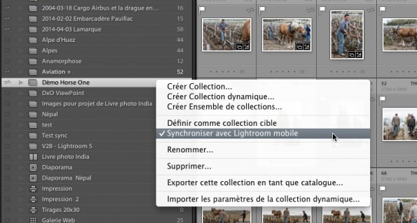 Synchro collections avec Lr mobile