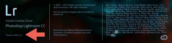 Écran d'accueil Lr CC 2015.2.1