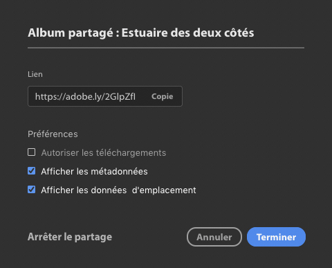 Options partage album