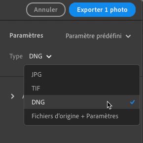 Export DNG